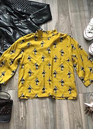 Красивенная горчичная рубашечка h&m