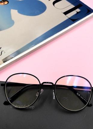 Стильные имиджевые очки раунды люкс качества с антибликовым покрытием чёрные