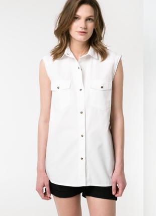 Джинсовая рубашка без рукавов mango, m, l1 фото