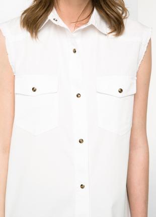 Джинсовая рубашка без рукавов mango, m, l3 фото