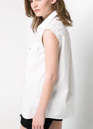 Джинсовая рубашка без рукавов mango, m, l4 фото