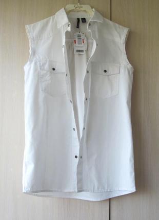 Джинсовая рубашка без рукавов mango, m, l5 фото