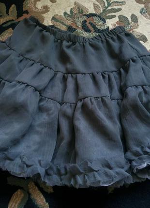 Серая шифоновая юбка на атласной подкладке