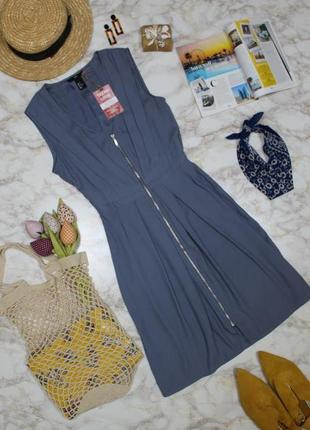 Обнова! платье а-силуэт сизо голубое с молнией h&m