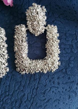 Серьги в стиле зара zara серебро сережки винтаж вечерние3 фото