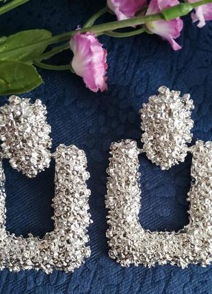 Серьги в стиле зара zara серебро сережки винтаж вечерние2 фото