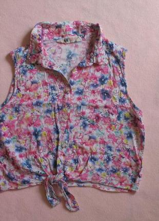 Яркая укороченная блузка рост 152