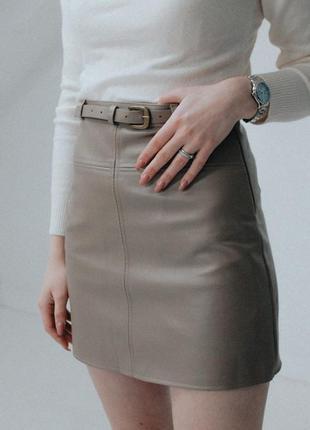 844e58f1e89 Бежевая юбка из кожзама