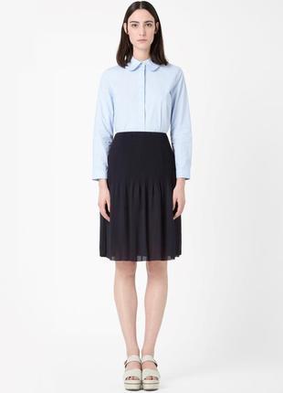 Синяя миди юбка плиссе из шифона cos s-m