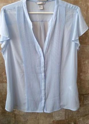 H&m. воздушная блузка небесного цвета. размер 2xl
