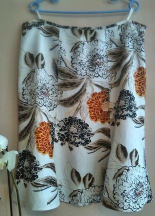 Летняя льняная юбка на подкладке большого размера # blu seven #