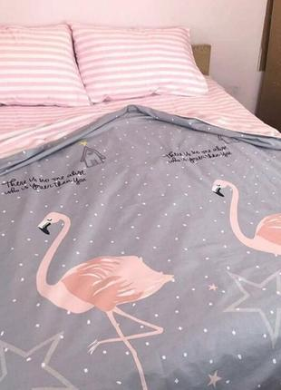Постельный комплект фламинго бязь голд