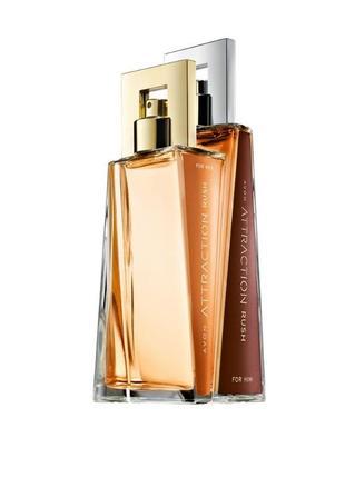 Парный парфюмерный набор две парфюмерные воды attraction rush avon  + подарок