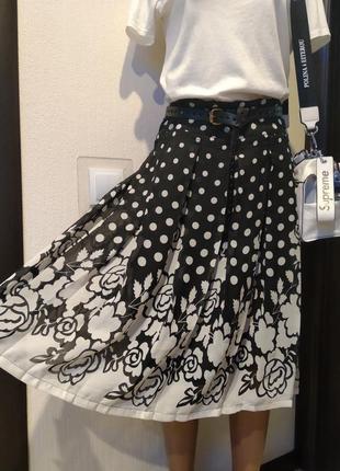 Крутая стильная юбка трапеция под плиссеровку в горох тончайшая