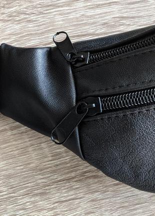Стильная бананка натуральная кожа, сумка на пояс черная матовая кожа6 фото