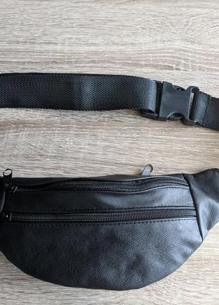 Стильная бананка натуральная кожа, сумка на пояс черная матовая кожа7 фото
