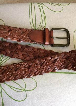 Кожаный ремень/ плетёный пояс/ натуральная кожа