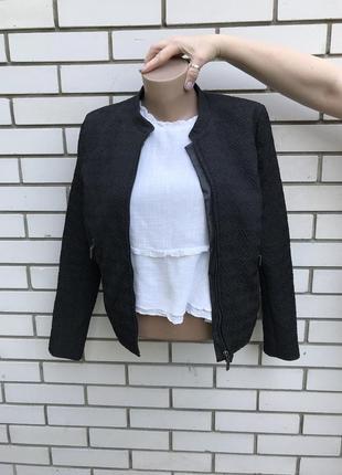 Чёрный,фактурный бомбер,куртка,жакет,пиджак с кожаной отделкой, h&m
