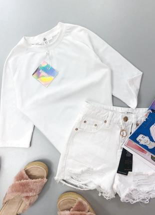 Базовая белая футболка рукав 3/4 missguided