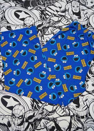 Пижамные штаны с принтом куки монстр cookie monster улица сезам sesame street
