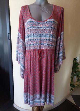 Трикотажное натуральное красивое комфортное платье большого размера