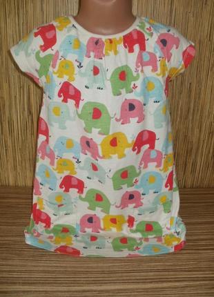 Трикотажное платье на 5-6 лет с рисунком слоники
