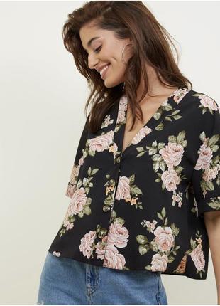 Блуза рубашка в цветочный принт zara