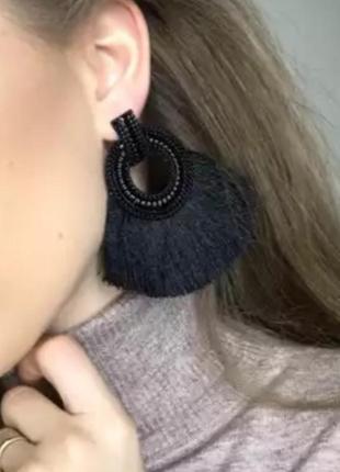 Серьги бахрома нити черные кисти сережки в стиле zara зара