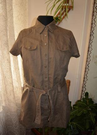 Летняя рубашка, туника, сорочка, мини платье, лен, сафари, милитари