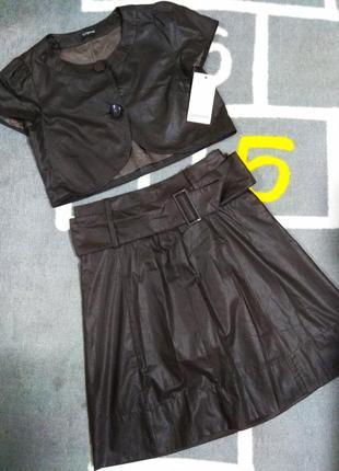 Новый женский костюм топ с пуговицами и миди юбка с поясом