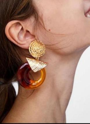 Серьги с янтарем в стиле zara зара золото вечерние винтаж сережки