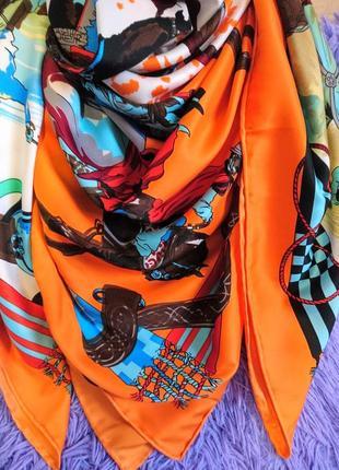 Шикарнейший шёлковый платок с ручной обработкой края3 фото