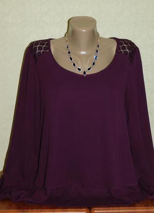 Шикарная блузка марсала в отличном состоянии р-р хл(48