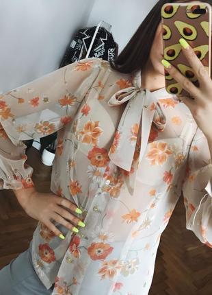 Шифонова блуза блузка в квіти шифоновая блуза с s