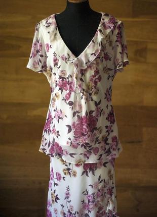 Летний костюм двойка юбка и блузка с цветочным принтом bhs, размер 4xl