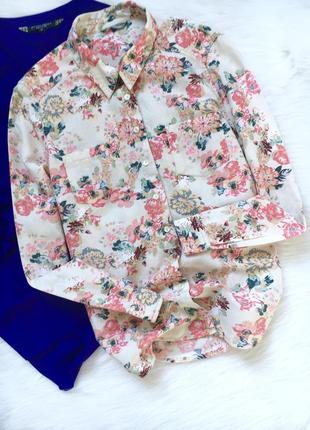 Рубашка в цветочный принт, легкая, не жаркая