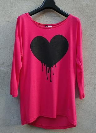 Лонгслив, топ, джемпер женский h&m, футболка с сердцем h&m