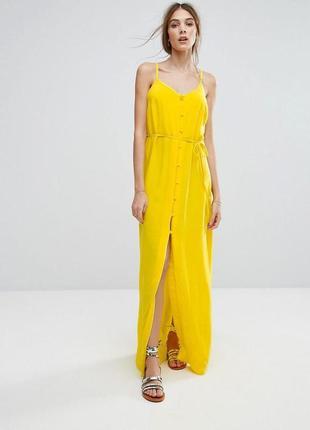 Роскошное платье макси на пуговицах винтаж new look