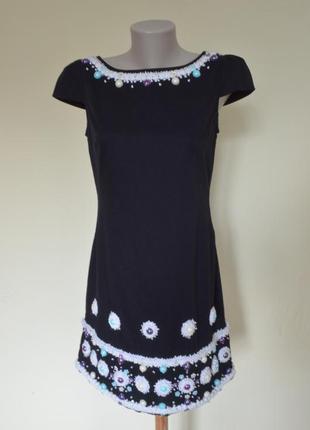 Мега крутое брендовое черное платье из котона ,шикарная вышивка