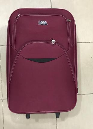 Новый прочный  малиновый, розовый дорожный чемодан l большой
