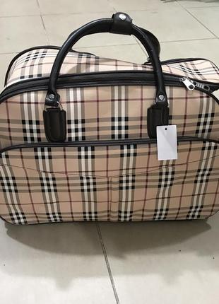Новая дорожная сумка, чемодан на колесах в клетку бежевая, коричневая
