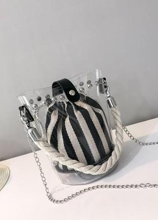 Стильная сумочка,прозрачная, цепочка через плечо!