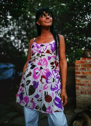 Платье сарафан туника в принт цветы коттон хлопок