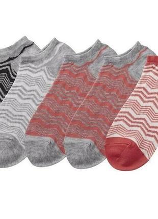 5 пар комплект короткие носки летние 39-40 esmara цветные