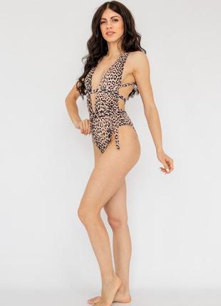 Купальник слитный леопард плавки бразилиана2 фото