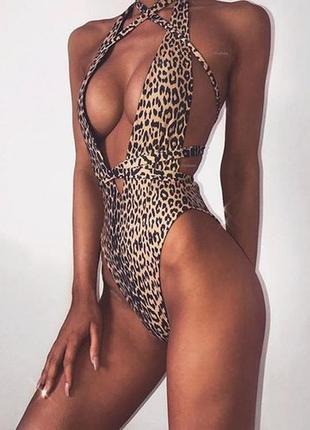 Купальник слитный леопард плавки бразилиана