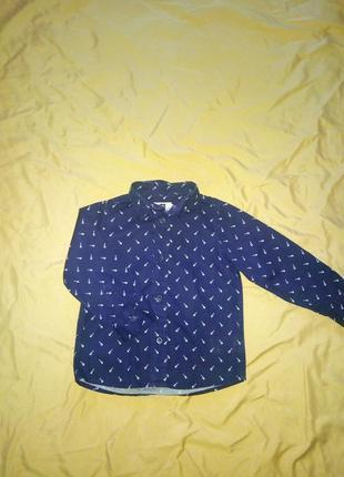 Фирменная хлопковая рубашка на 2-3 года в принт гитары