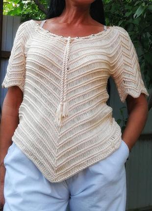 Ажурный кружевной летний с бусинами свитер джемпер в бохо стиле нюдовый stephen y