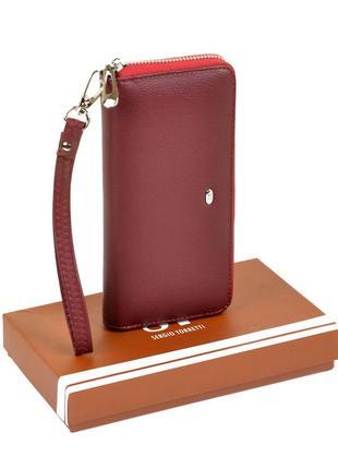 Бордовый кошелек на молнии с кистевой ручкой матовый из кожзаменителя