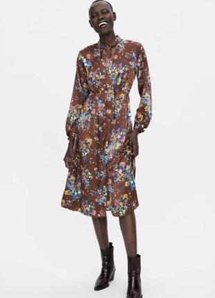 210c521c516 Zara платье миди с цветочек с бантом коричневое s